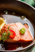 Fish soup made of salmon — Stock Photo
