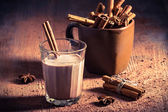 Cocoa milk with cinnamon bark — Stock Photo