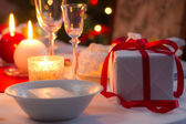 Beautifully set table for Christmas Eve — Stock Photo