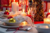 Maravillosamente setinng mesa de nochebuena — Foto de Stock