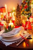Mesa navideña especialmente decorada — Foto de Stock