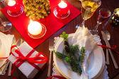 Wolne miejsce przy stole christmas — Zdjęcie stockowe