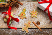View of gingerbread cookies for Christmas in basket — Stock Photo