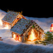 Stock Photo: Small gingerbread cottage in winter at night