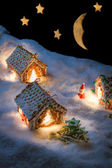 Christmas eve in the honey-cacke village — Stock Photo