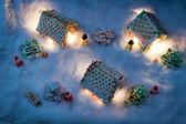 Víspera de navidad en el pueblo de pan de jengibre — Foto de Stock