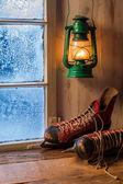 Refugio cálido en una noche fría de invierno — Foto de Stock