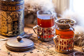 Hot tea brewed in the old style — Foto de Stock