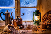 Winter evening with hot coffee — Stock Photo