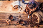 Smell of freshly grinded coffee — Stock Photo
