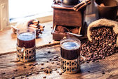 Closeup of hot coffee made of grinding grains — Stock Photo