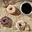 Stock Photo: Break at work with coffee and donuts