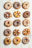 Large group of variously decorated donuts — Stock Photo