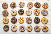 Large group of colorfully decorated donuts — Stock Photo