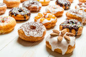 Large group of glazed donuts — Stock Photo