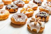 Large group of glazed donuts — Stock Photo
