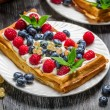 Closeup of fresh berry fruit on waffels — Stock Photo #38592691