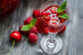 Closeup of liqueur made of fresh wild berries and mint — Stock Photo