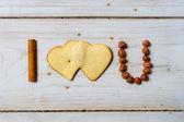 """I love you"" sentence arranged with cookies and nuts — Stock Photo"