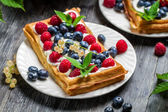 Closeup of waffles with fresh berry fruit — Stock Photo