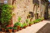 Beautifully decorated street in the old town in Italy — Stock Photo