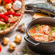 Fresh ingredients for fish soup — Stock Photo