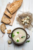 Homemade soup with eggs and sausage — Stock Photo
