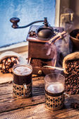 Freshly brewed coffee in the old style — Stock Photo