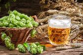 Homemade beer made of fresh hops — Stock Photo