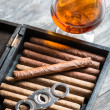 Humidor full of cigars, guillotine and cognac — Stock Photo #39526425