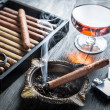 Taste of cognac and cigar fuming — Stock Photo #39526729