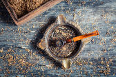 Burnt tobacco in an old wooden pipe — Stock Photo