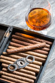 Humidor full of cigars, guillotine and cognac — Stock Photo