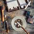 Cigarettes, ashtray and a smoking pipe — Stock Photo #39916259