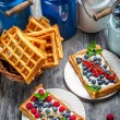 Waffles with fresh collected berry fruit — Stock Photo #39919079