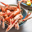 Stock Photo: Freshly cooked scampi in blue bowl
