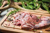 Piece venison on the background of spruce and antlers — Stock Photo