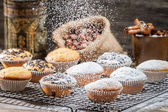 Falling powder sugar on vanilla muffins — Stock Photo