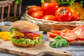 Closeup of homemade burger made from fresh vegetables — Stock Photo