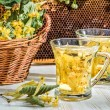 Tea with lime and honey served in the garden at summer — Stock Photo #40186223