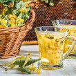 Tea with lime and honey served in the garden at summer — Stock Photo