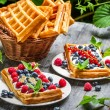 Fresh berry fruit on waffels — Stock Photo #40186367