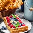 Waffles with berry fruit and whipped cream — Stock Photo #40944975