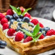 Closeup of waffles with fresh berry fruit — Stock Photo #40944979