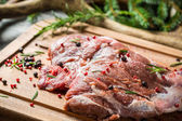 Fresh venison prepared for frying — Stock Photo