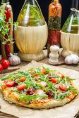 Preparing homemade pizza with ham — Stock Photo