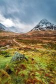 Snow capped mountains and a path in Glencoe — Stock Photo
