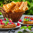 Closeup of fresh berry fruit on waffels — Stock Photo #41708495