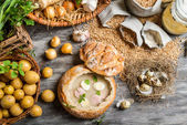 Sour soup with fresh ingredients — Stock Photo