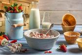 Gezonde en verse zelfgemaakte strawberry ijs — Stockfoto